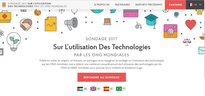 Page web du sondage international 2017 sur l'utilisation des technologies par les ONG du monde