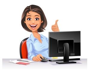 Image d'une femme à l'ordinateur avec le pouce en l'air