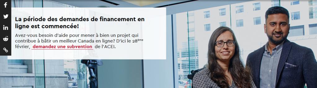 Capture du site web du Programme d'investissement communautaire, ACEI/CIRA