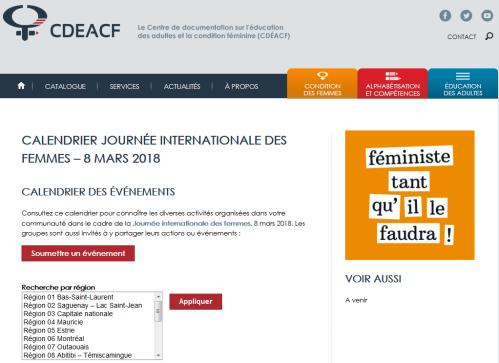 Capture du site web du CDÉACF - calendrier du 8 mars 2018