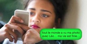 Photo du site de cyberviolence.ca montrant une jeune fille avec cellulaire